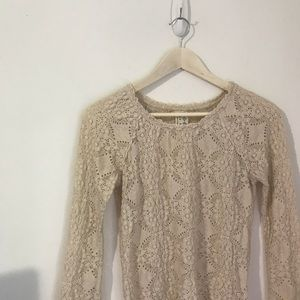 0d00301ad80006 Free People Tops - Free People Pucker Cream Lace Long Sleeve Top